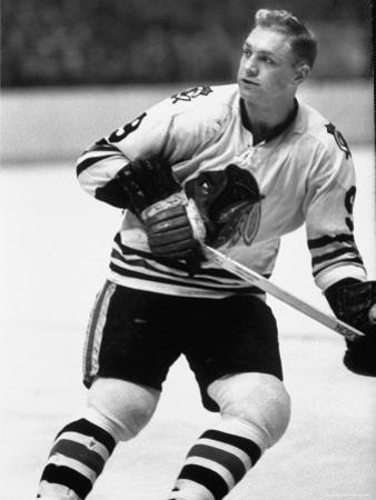 Chicago Black Hawk Ice Hockey Player Bobby Hull During Game by Art Rickerby