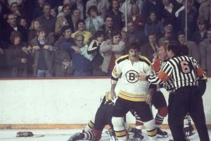 Nhl Boston Bruin Player Derek Sanderson in a Brawl Against Chicago Black Hawks by Art Rickerby