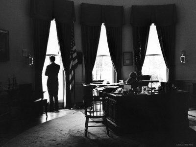 President John F. Kennedy and Attorney Gen. Robert F. Kennedy in the Oval Office at the White House