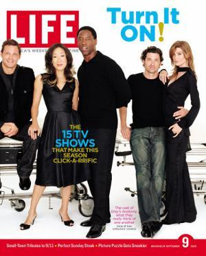 Grey's Anatomy Cast: J. Chambers, S. Oh, I. Washington, P. Dempsey and E. Pompeo, September 9, 2005 by Art Streiber