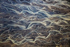 Aerial of braided rivers, Iceland by Art Wolfe