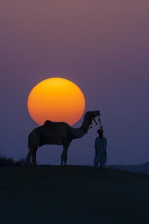 Camel and person at sunset, Thar Desert, Rajasthan, India by Art Wolfe