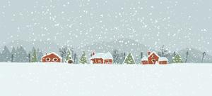 Winter Background with a Peaceful Village in a Snowy Landscape. Christmas Vector Hand Drawn Backgro by Artem Musaev