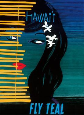Hawaii - Fly Teal (Tasman Empire Airways Limited) - Wahine (Girl) with Orchids by Arthur Alfred Thompson