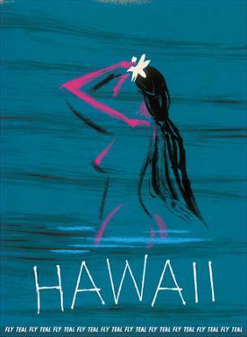 Hawaii - Nude Hawaiian Girl Bathing - Fly Teal (Tasman Empire Airways Limited) by Arthur Alfred Thompson