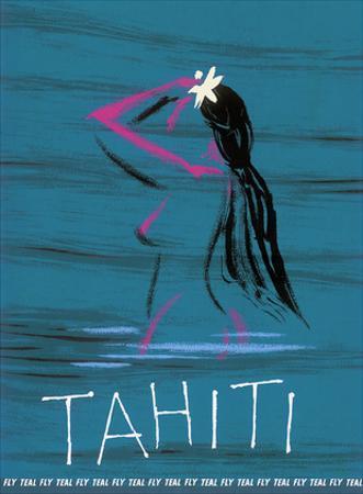 Tahiti - Nude Tahitian Girl - Fly Teal (Tasman Empire Airways Limited) by Arthur Alfred Thompson