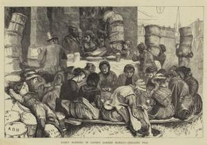 Early Morning in Covent Garden Market, Shelling Peas by Arthur Boyd Houghton