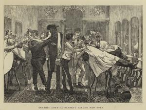 Graphic America, Barber's Saloon, New York by Arthur Boyd Houghton