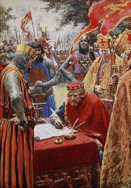 King John Signing the Magna Carta Reluctantly by Arthur C. Michael