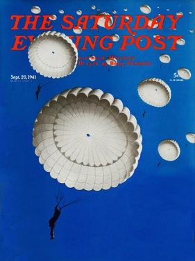 """Sky Full of White Parachutes,"" Saturday Evening Post Cover, September 20, 1941 by Arthur C. Radebaugh"