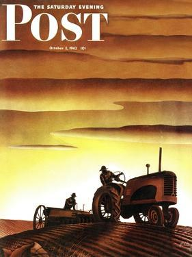 """""""Tractors at Sunset,"""" Saturday Evening Post Cover, October 3, 1942 by Arthur C. Radebaugh"""