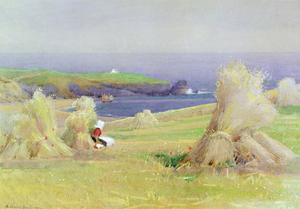 By the Corn Stocks by Arthur Claude Strachan