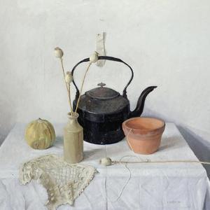 Kettle, Poppyheads and Gourd, Still Life, 1990 by Arthur Easton