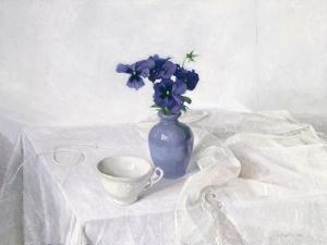 Pansies in a Blue Vase, Still Life, 1990 by Arthur Easton