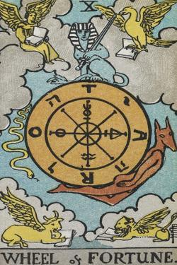 Tarot Card With a Central Wheel in the Clouds by Arthur Edward Waite