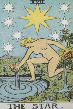 Tarot Card With a Nude Woman by a Lake With Vessels Of Water. Stars Shine Overhead by Arthur Edward Waite