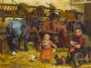 Feeding the Chickens by Arthur Elsley