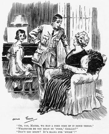 Mother Knitting During WW1, Cartoon