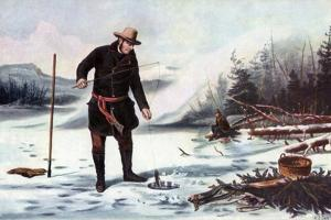 Trout Fishing on Chateaugay Lake, American Winter Sports, 1856 by Arthur Fitzwilliam Tait