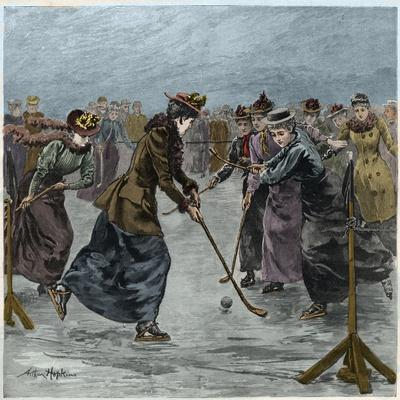 Ice Hockey : a ladies match on the lake in Wimbledon Park (later colouration)