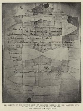 Fragments of the Letter Sent by Colonel Rhodes to Dr Jameson by Arthur Hughes