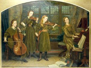 The Home Quartett, 1882 (Mrs.Vernon Lushington and her daughters) by Arthur Hughes