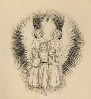 Three Little Children on the Wide Wide Earth (Pen and Black Ink on Off-White Paper) by Arthur Hughes