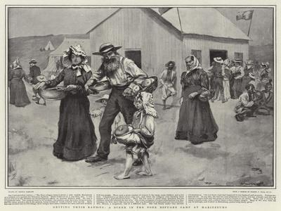 Getting their Rations, a Scene in the Boer Refugee Camp at Maritzburg