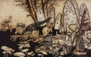 A Band of Workmen, Who Were Sawing Down a Toadstool, Rushed Away, Leaving their Tools Behind Them by Arthur Rackham