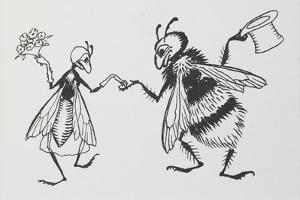 A Fly and Bee Getting Married by Arthur Rackham