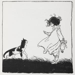 A Girl With a Doll Tells Off Her Cat by Arthur Rackham