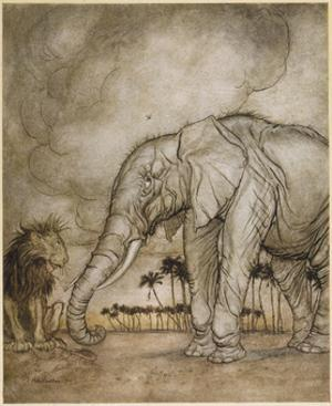 Aesop, Lion and Elephant by Arthur Rackham