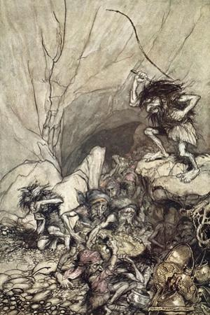 Alberich drives in a band of Nibelungs with gold and silver treasures', 1910 by Arthur Rackham
