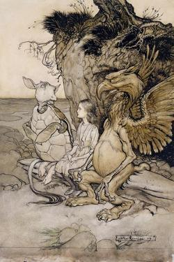 Alice and the Mock Turtle, Illustration from 'Alice's Adventures in Wonderland', 1907 by Arthur Rackham