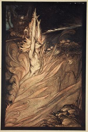 Appear, flickering fire, Encircle the rock with thy flame! Loge! Loge! Appear!', 1910 by Arthur Rackham
