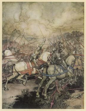Arthur Uses Excalibur by Arthur Rackham