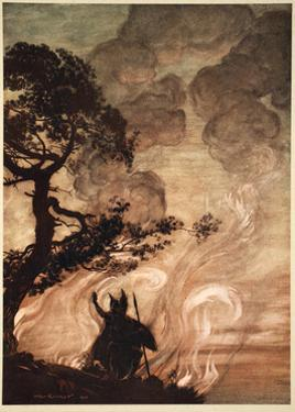 As he moves slowly away, Wotan turns and looks sorrowfully back at Brunnhilde', 1910 by Arthur Rackham