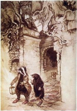 Badger and Mole, Willow by Arthur Rackham