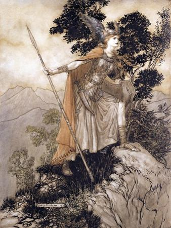 Brunhilde, Illustration from 'The Rhinegold and the Valkyrie' by Richard Wagner, 1910 by Arthur Rackham