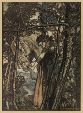 Brunnhilde and Horse by Arthur Rackham