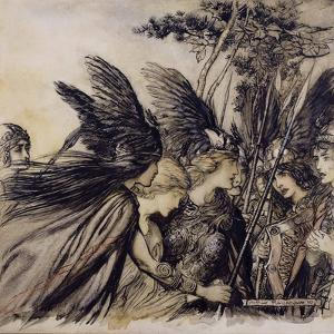 Brunnhilde Implores the Valkyries, Illustration from 'The Rhinegold and the Valkyrie' by Arthur Rackham