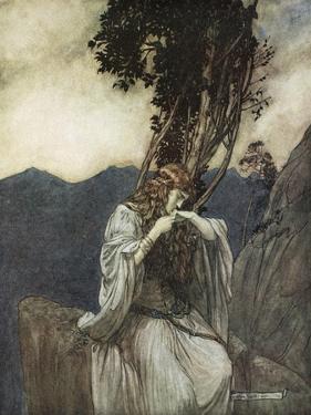 Brunnhilde kisses the ring that Siegfried has left with her', 1924 by Arthur Rackham