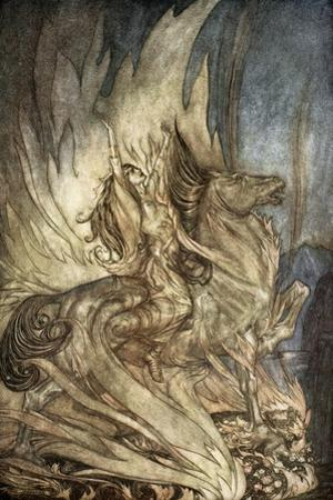 Brunnhilde on Grane leaps on to the funeral pyre of Siegfried', 1924 by Arthur Rackham