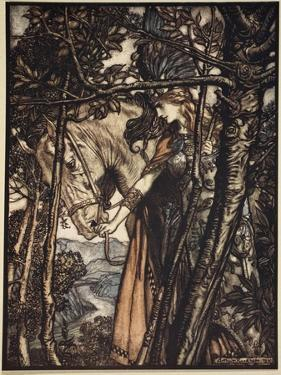 Brunnhilde silently leads horse down path to cave, illustration, 'The Rhinegold and the Valkyrie' by Arthur Rackham