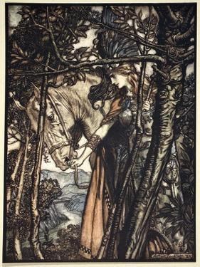 Brunnhilde slowly and silently leads her horse down the path to the cave', 1910 by Arthur Rackham