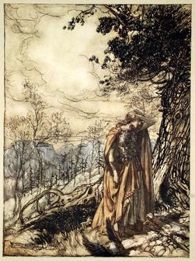 Brunnhilde stands for a long time, dazed and alarmed', 1910 by Arthur Rackham