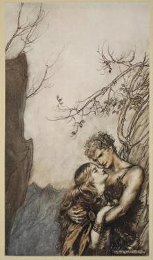Brunnhilde throws herself into Siegfried's arms, illustration 'Siegfried and the Twilight of Gods' by Arthur Rackham