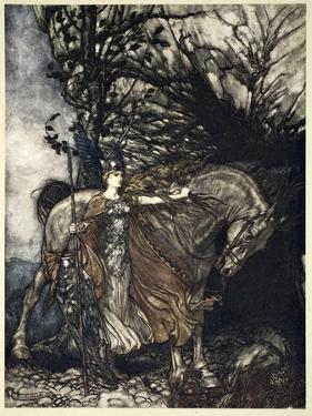 Brunnhilde with her horse at the mouth of the cave', 1910 by Arthur Rackham