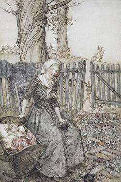 Bye, Baby Bunting.' Mother With Her Baby in a Cot. Father Going Hunting in the Background by Arthur Rackham