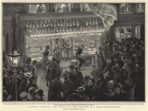Christmas Shopping, the Opening of New Premises in Poor Neighbourhood by Arthur Rackham